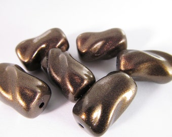 6 Vintage 20x12 Glossy Bronzed Cocoa Barrel Lucite Twist Beads Bd359