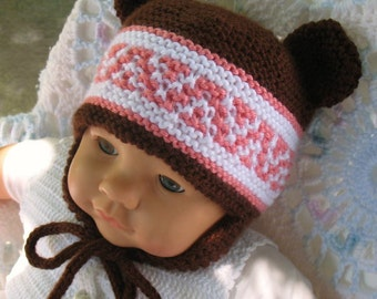 Knitting Pattern 018 -  Beanie & Ear Flap Hats with Bear Ears Beanie Ear Flap Hat Bear Ears Baby Boy Baby Girl Child Teen Adult Hat
