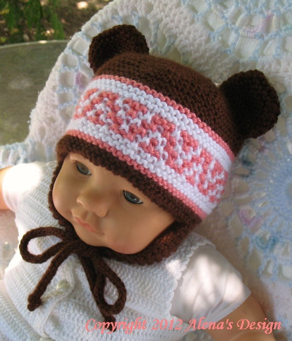 Knitting Pattern 018 Beanie & Ear Flap Hats with Bear Ears