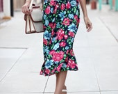 Floral Button Front Highwaisted Midi Skirt - Maggie