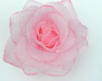 Hair Clip:   BABY PINK Glitter Rose Alligator Clip - With Free Baby Headband