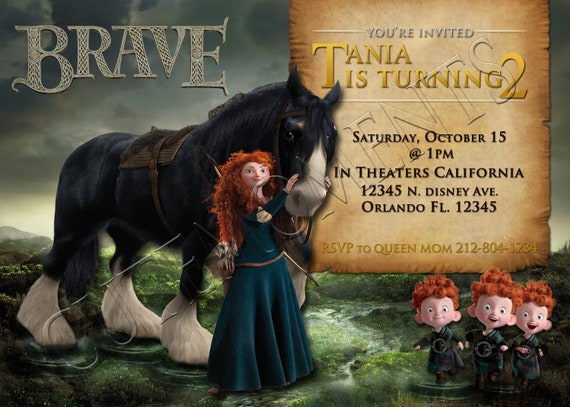 Disney Brave (Merida) - Personalized Birthday Party Invitation