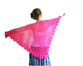 Lacy Shawl in Fuchsia - Spring Summer Fashion - Women Accessories - Wrap - Lace Trim Scarf - Gift for Her