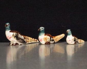 Miniature Pheasants Bone China Figurines. Bird Figurines.