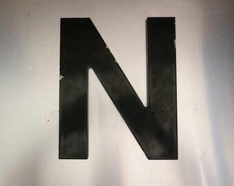 Metal 'N' Monogram. Letter N.