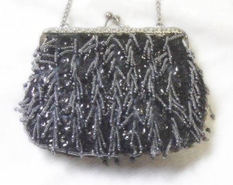Blue Beaded Bag - Purse - Vintage 1950s to early 1960s