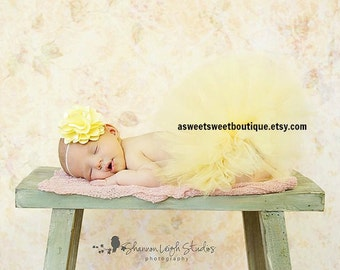 Sweet Buttercream Baby Couture Tutu Boutique Style Custom Made With Matching Flower Headband Beautiful Newborn Photo Prop