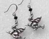 Witch On a Broomstick Earrings Halloween Earrings Made with Swarovski Crystal Elements