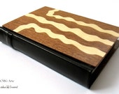 Exclusive Handmade Journal, Wood and Leather Blank Book, Brown Leather Walnut & Sycamore Wood. SOMNIA