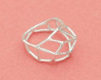Geometric ring - Japanese design - linear design ring - Wabi sabi - Jungle Gym design - free shipping - Etsy finds