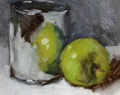 "Still life painting, Apple Still Life Grey and Green, 7"" x 7"", oil painting on mounted linen canvas"
