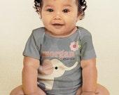 Personalized Baby Girl Shirt, Elephant Polka Dot, Custom Infant Snapshirt Outfit