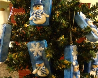 Sale Priced **Winter Wonderland Snowman Domino Ornament Set   Holiday Ornaments Snowman  Mixed Media Dominos T1314