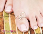Big Toe Flower and Leaf Toe Ring, 4 colors to choose from