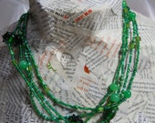 Custom order for RA.  Emerald Beaded Necklace.