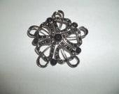 Sharp Black Faceted Swarovski Stone Flower Brooch