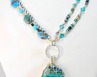 Blue Zebra Stripped Calsilica Necklace, Sterling, Swarovski, Hematite, Silver Wire wrapped, Boho, unique, gift under 50, bright, vivid color