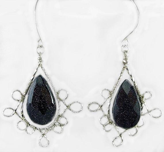 Stylish Blue Goldstone & Sterling Silver Wire Wrapped Earrings, Midnight Blue, Elegant