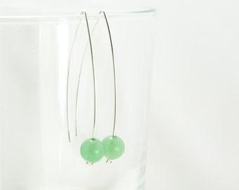 Green Aventurine Marquise Earrings - Sterling Silver Mint Green Gemstone Long Dangle - Success, Courage, Luck, Healing
