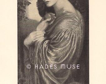 Hades Muse Persephone-Proserpine-Rosetti-1903 Antique Vintage Art Print-Gothic Picture-Pomegranate-Goddess Of The Underworld-Greek Mythology