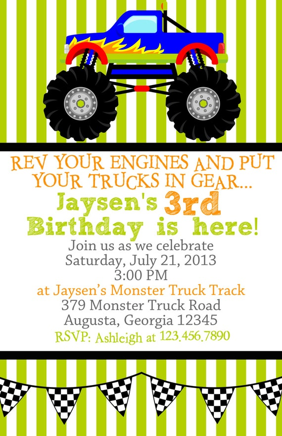 Monster Truck Birthday Party Invitations