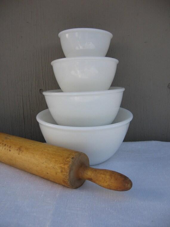Milk Glass Mixing Bowls - Set of Four White Glass Bowls - Kitchen Decor - Beaded Edge