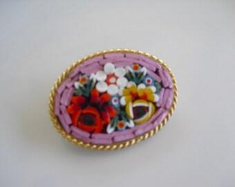 Vintage pink floral mini mosaic brooch