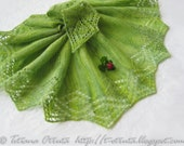 Green Lace Hand knit Shawl, Women Scarf, Gift, Apple green, FREE SHIPPING,  Triangular, Original Design