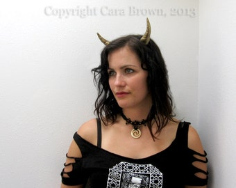 Horns headband gold metallic steampunk realistic lightweight dragon