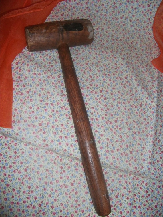 Vintage Antique Wooden Mallet Hammer Old Wood Working Tool..Rustic Collectible .ONLY 6 USD