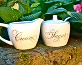 Cream and Sugar Set - White Painted Porcelain with Gold Enamel Inlay