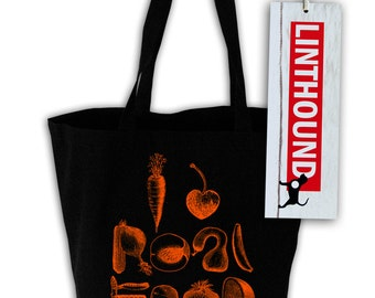 I Heart Real Food Black Canvas Grocery Tote Bag