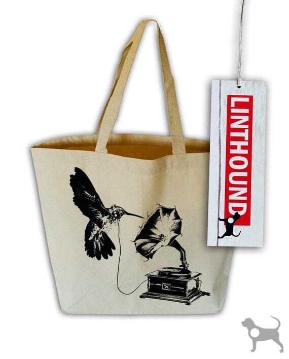 DJ Hummingbird Natural Canvas Grocery Tote Bag