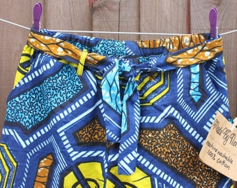 Trousers - Blue, Yellow, Turquoise, Brown geometric African print Party Pants. Size XS / waist 26inches with elastic waist & fabric belt.