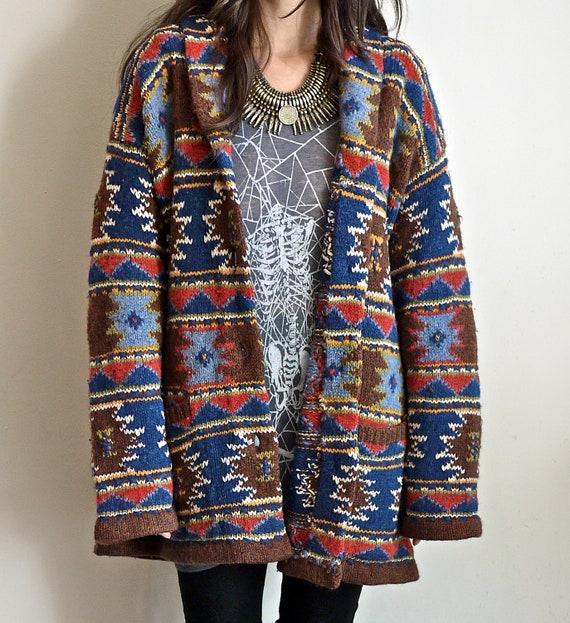 90s southwest navajo sweater jacket