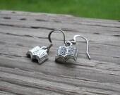 Tibetan silver Book Charm ear rings