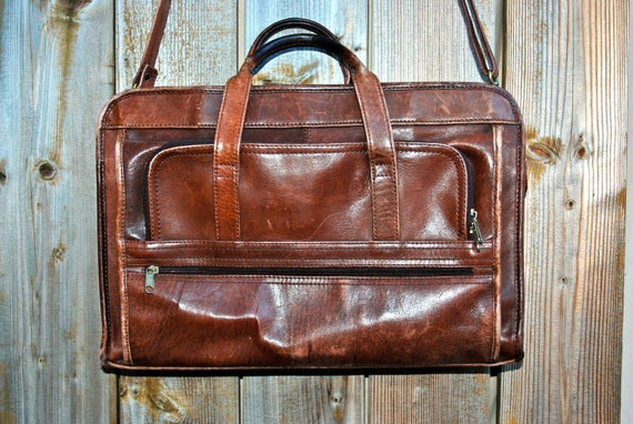 Distressed leather briefcase or laptop case, large, multi pocket, espresso brown.