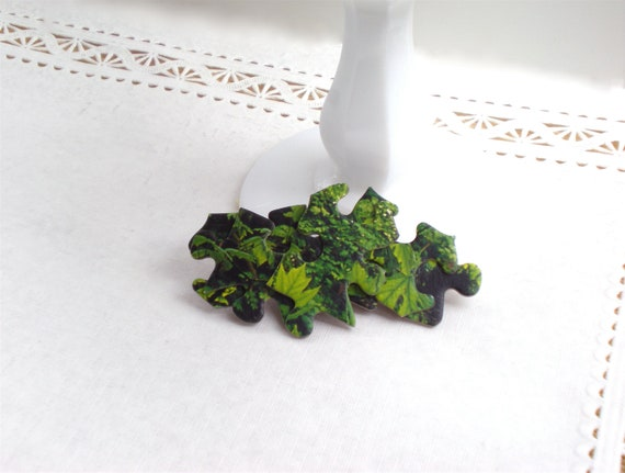 Green Puzzle Piece Clip / Upcycled Hair Accessory / OOAK / Nature Inspired