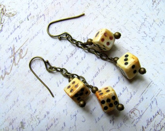 Bone Dice Earrings, Bone Earrings, Dice Earrings, Chain Earrings, Dangle Earrings, Bunco Earrings, Gambling Earrings, Lucky Dice Earrings
