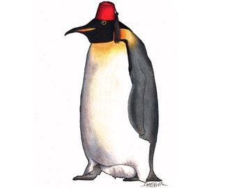 Penguin in a Fez - A4 Print