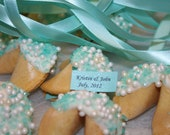 Tiffany blue and pearls Wedding favor custom message fortune cookies