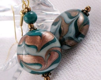 Teal and Metallic Copper Lampwork Bead Earrings - Swirled Design - Gifts under 20