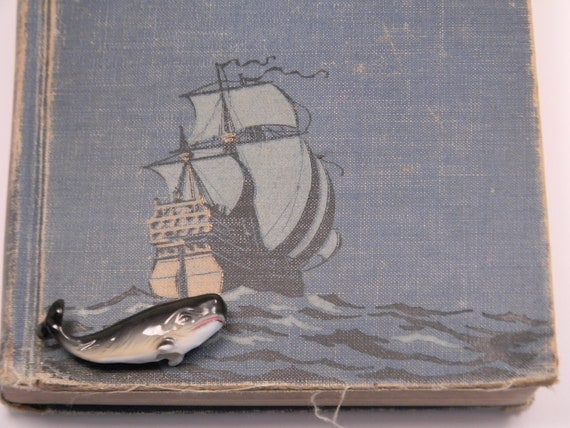 Bone China Whale, Vintage 1950s Miniature Figurine