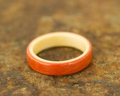 Pink Ivory Ring with American Holly Liner - Bentwood Band - And We Plant A Tree:)