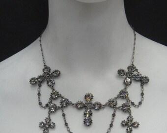 Passion Multi cross Necklace Black Diamond Swarovski Crystals, Antique Silver plated hypoallergenic 5702N