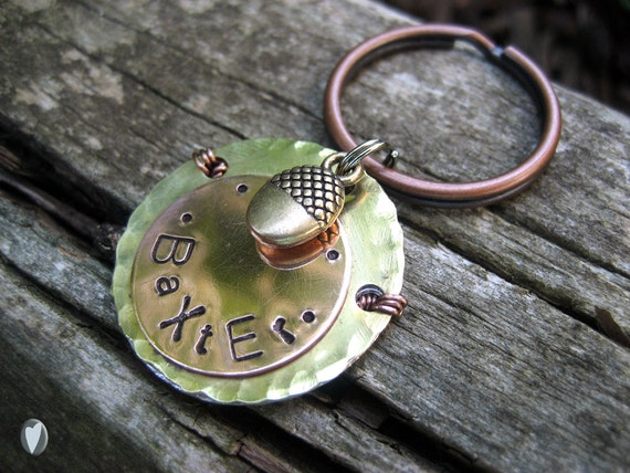 Hammered Brass and Copper Acorn Pet Id Tag - Copper - Brass - Acorn Charm - Aluminum Backer - Wire Wrap