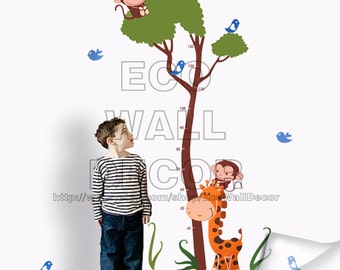 PEEL and STICK Removable Vinyl Wall Sticker Mural Decal Art - Monkeys Giraffe Height Measurement Decal