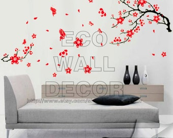PEEL and STICK Removable Vinyl Wall Sticker Mural Decal Art - Red Cherry Blossom and Butterflies