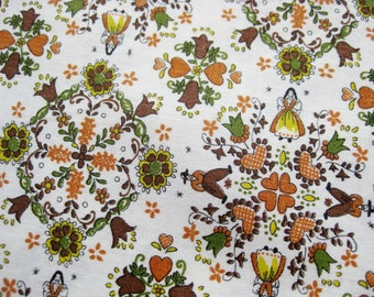 Vintage 50s 60s Pennsylvania Dutch Colonial Novelty Print Folk Art Cotton Dress Fabric Remnant 1.5 Yards