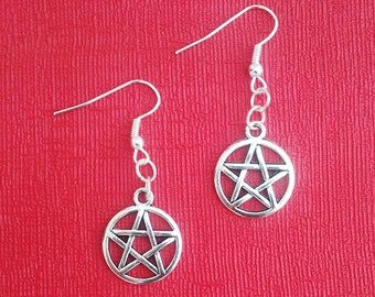 Handmade Small Double Sided Pentagram Dangle Earrings Gothic Emo Steampunk